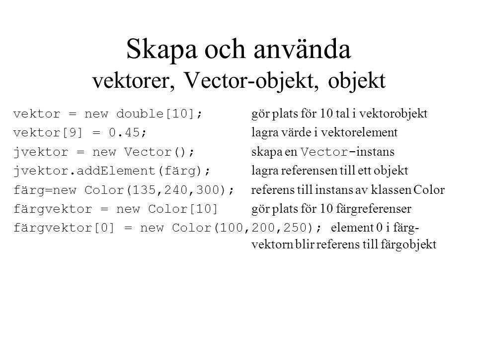 Skapa och använda vektorer, Vector-objekt, objekt vektor = new double[10]; gör plats för 10 tal i vektorobjekt vektor[9] = 0.45; lagra värde i vektore