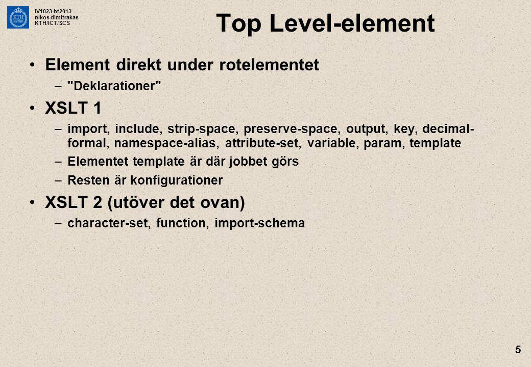 IV1023 ht2013 nikos dimitrakas KTH/ICT/SCS 5 Top Level-element Element direkt under rotelementet –