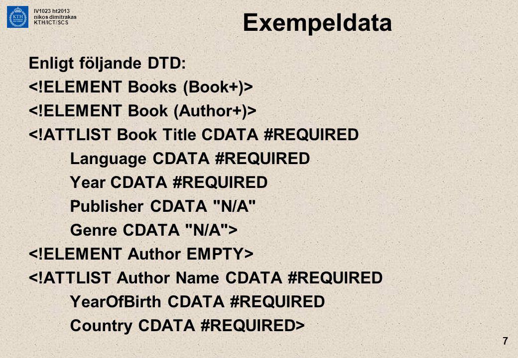 IV1023 ht2013 nikos dimitrakas KTH/ICT/SCS 7 Exempeldata Enligt följande DTD: <!ATTLIST Book Title CDATA #REQUIRED Language CDATA #REQUIRED Year CDATA #REQUIRED Publisher CDATA N/A Genre CDATA N/A > <!ATTLIST Author Name CDATA #REQUIRED YearOfBirth CDATA #REQUIRED Country CDATA #REQUIRED>