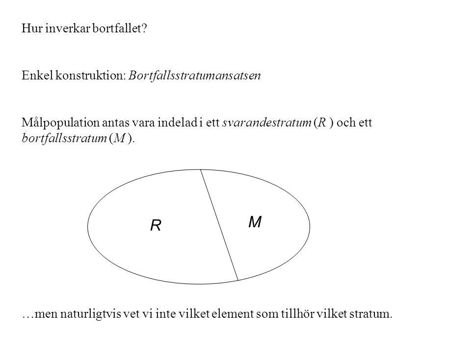 Hur inverkar bortfallet? Enkel konstruktion: Bortfallsstratumansatsen Målpopulation antas vara indelad i ett svarandestratum (R ) och ett bortfallsstr