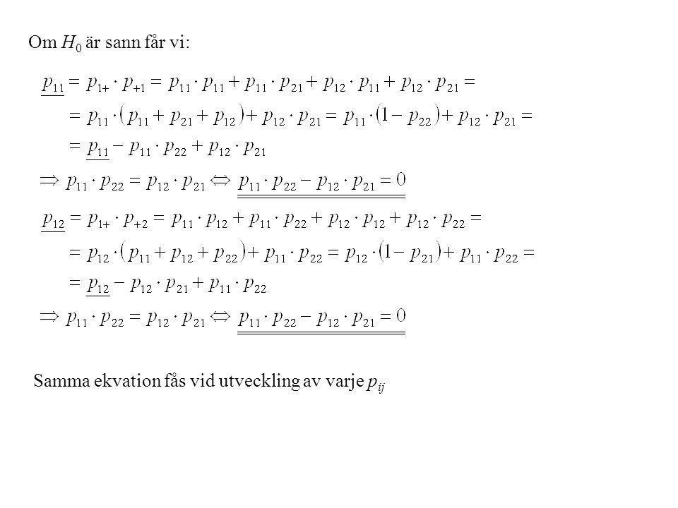 Detta ger nu dvs.vi får en enda ekvation som representerar fyra (2  2) likheter.