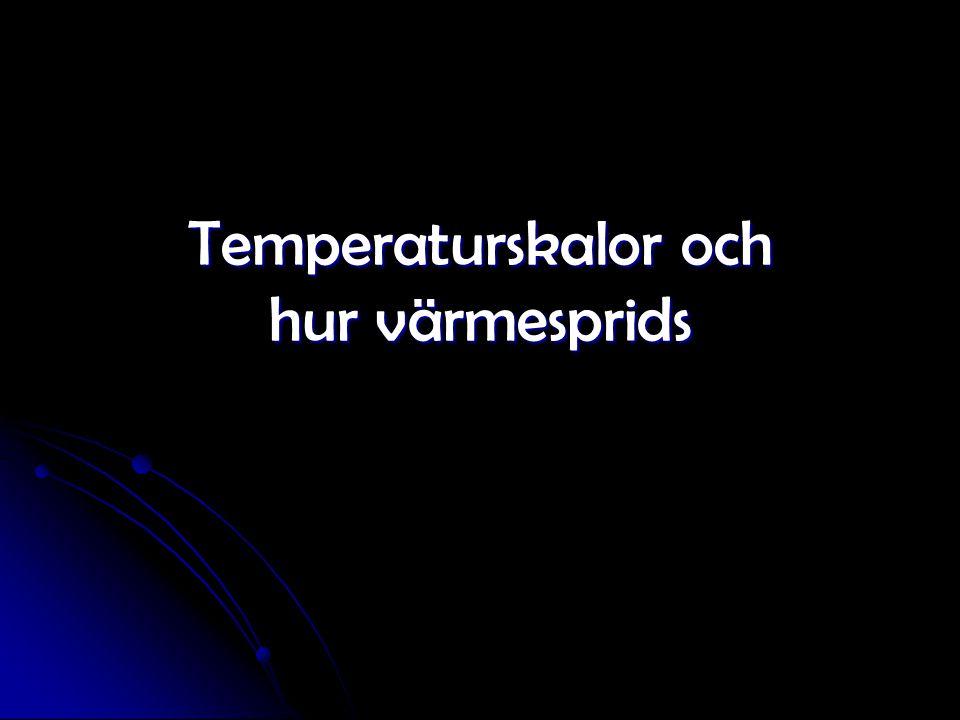Tre skalor för temperatur Fahrenheit 1700-talet Mest i engelspråkiga länder Fahrenheit 1700-talet Mest i engelspråkiga länder Celsius 1700-talet Vanlig i Europa mm Celsius 1700-talet Vanlig i Europa mm kelvin (K) Används inom Naturvetenskapen kelvin (K) Används inom Naturvetenskapen Den absoluta nollpunkten är det kallaste som finns då är partiklarna helt stilla.