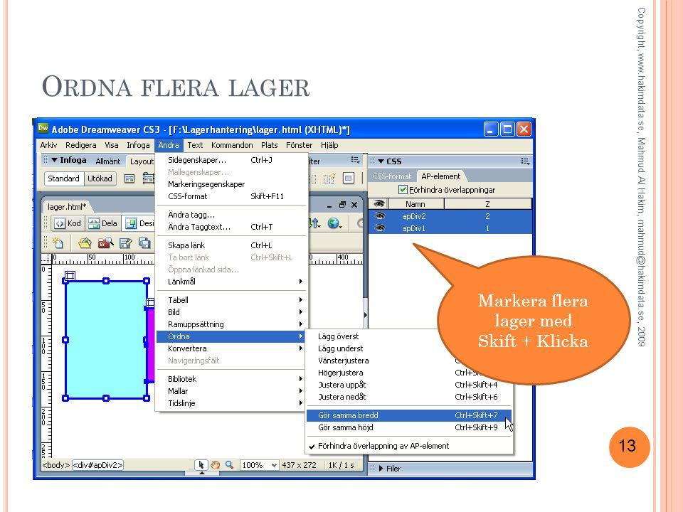 13 O RDNA FLERA LAGER Markera flera lager med Skift + Klicka Copyright, www.hakimdata.se, Mahmud Al Hakim, mahmud@hakimdata.se, 2009