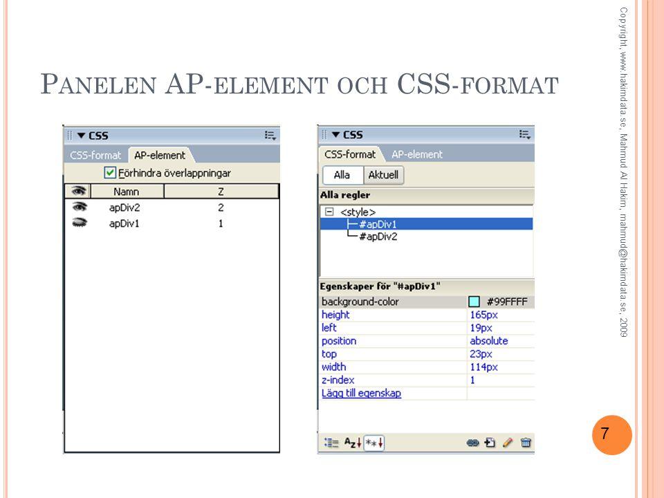 7 P ANELEN AP- ELEMENT OCH CSS- FORMAT Copyright, www.hakimdata.se, Mahmud Al Hakim, mahmud@hakimdata.se, 2009