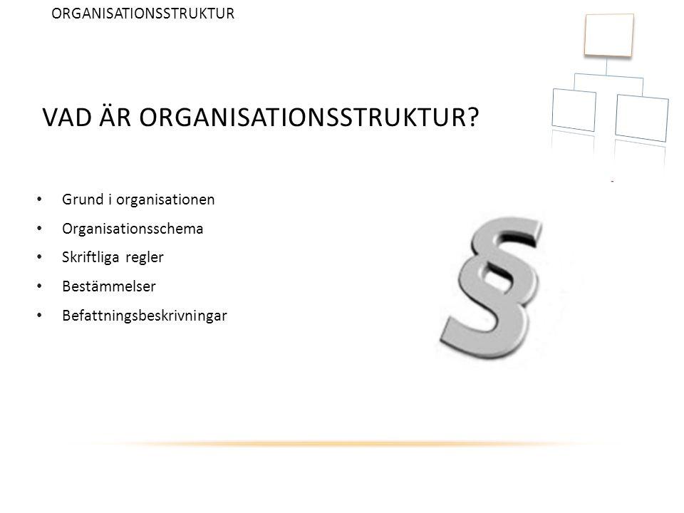 VAD ÄR ORGANISATIONSSTRUKTUR? Grund i organisationen Organisationsschema Skriftliga regler Bestämmelser Befattningsbeskrivningar ORGANISATIONSSTRUKTUR