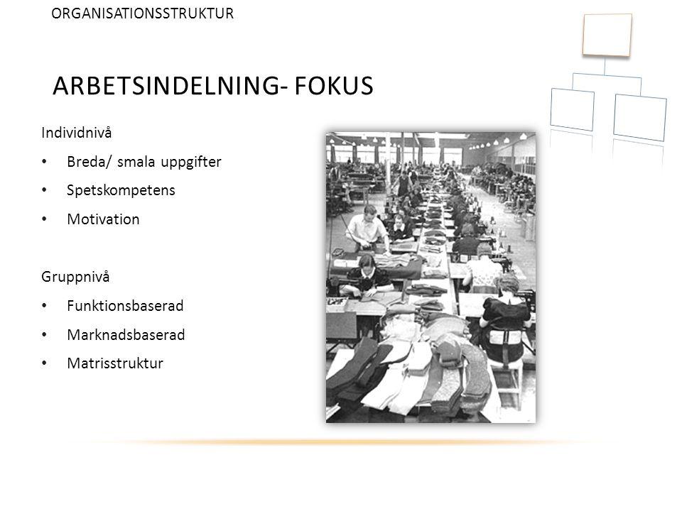ARBETSINDELNING- FOKUS Individnivå Breda/ smala uppgifter Spetskompetens Motivation Gruppnivå Funktionsbaserad Marknadsbaserad Matrisstruktur ORGANISA