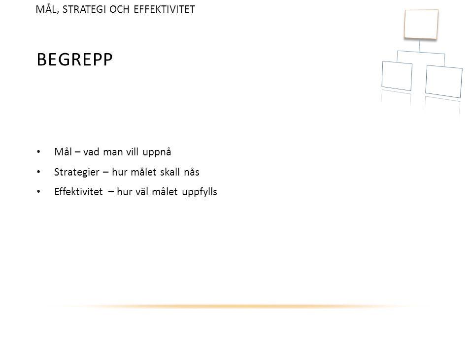 BEGREPP Mål – vad man vill uppnå Strategier – hur målet skall nås Effektivitet – hur väl målet uppfylls MÅL, STRATEGI OCH EFFEKTIVITET
