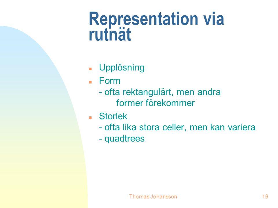 Thomas Johansson16 Representation via rutnät n Upplösning n Form - ofta rektangulärt, men andra former förekommer n Storlek - ofta lika stora celler, men kan variera - quadtrees