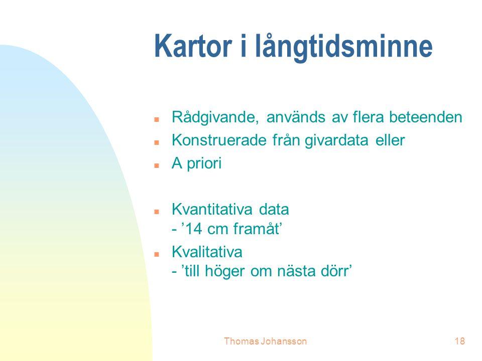 Thomas Johansson18 Kartor i långtidsminne n Rådgivande, används av flera beteenden n Konstruerade från givardata eller n A priori n Kvantitativa data - '14 cm framåt' n Kvalitativa - 'till höger om nästa dörr'