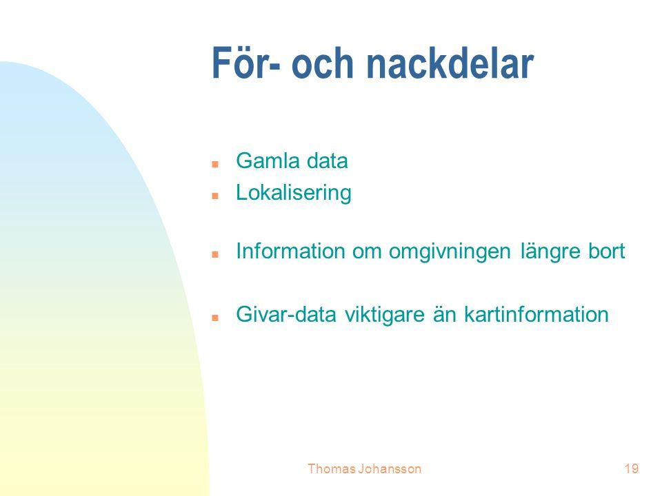 Thomas Johansson19 För- och nackdelar n Gamla data n Lokalisering n Information om omgivningen längre bort n Givar-data viktigare än kartinformation