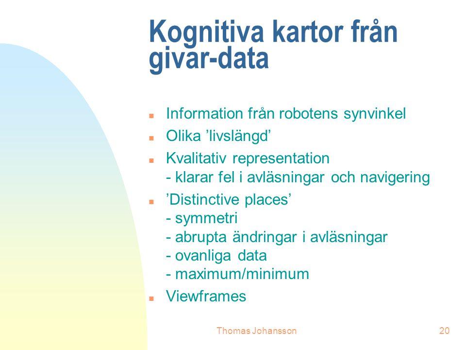 Thomas Johansson20 Kognitiva kartor från givar-data n Information från robotens synvinkel n Olika 'livslängd' n Kvalitativ representation - klarar fel i avläsningar och navigering n 'Distinctive places' - symmetri - abrupta ändringar i avläsningar - ovanliga data - maximum/minimum n Viewframes
