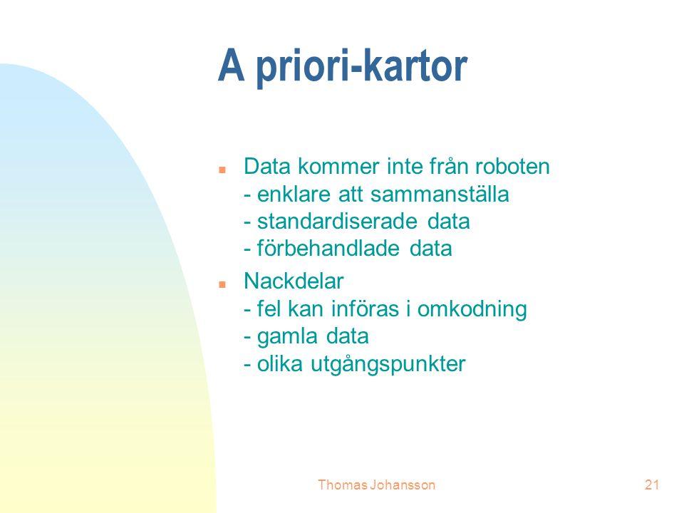 Thomas Johansson21 A priori-kartor n Data kommer inte från roboten - enklare att sammanställa - standardiserade data - förbehandlade data n Nackdelar - fel kan införas i omkodning - gamla data - olika utgångspunkter