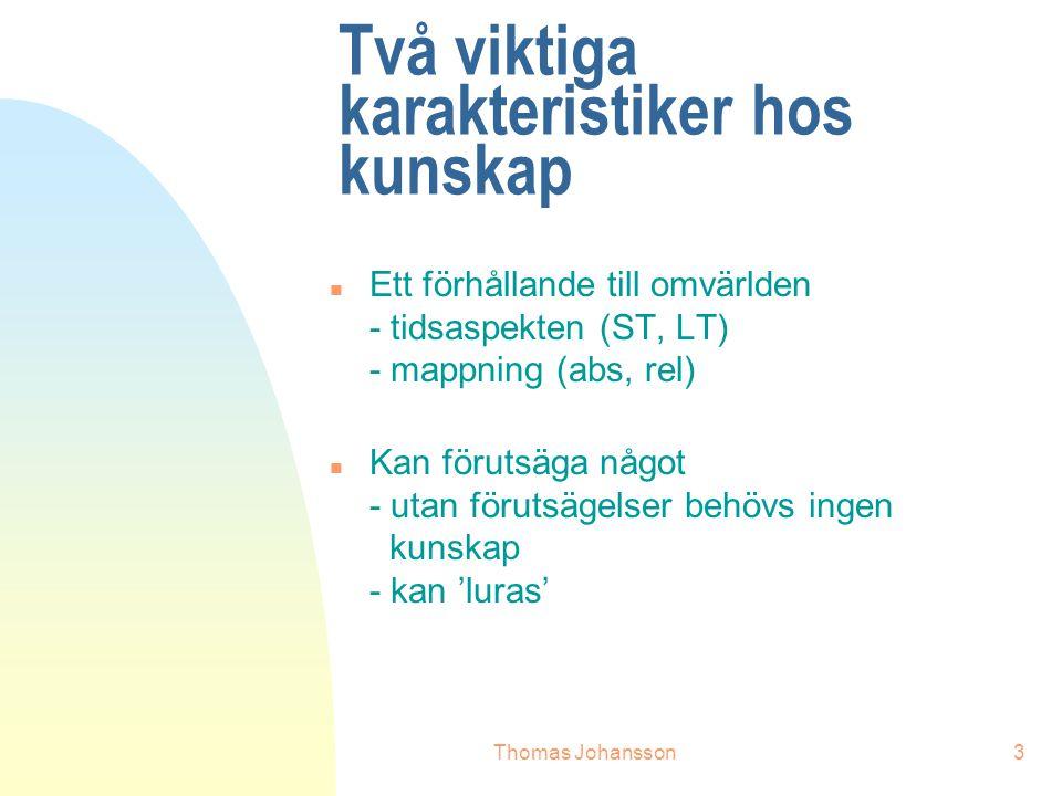Thomas Johansson3 Två viktiga karakteristiker hos kunskap n Ett förhållande till omvärlden - tidsaspekten (ST, LT) - mappning (abs, rel) n Kan förutsäga något - utan förutsägelser behövs ingen kunskap - kan 'luras'