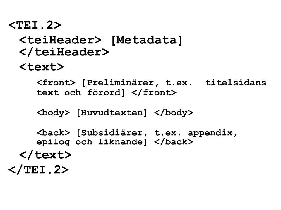 [Metadata] [Preliminärer, t.ex. titelsidans text och förord] [Huvudtexten] [Subsidiärer, t.ex.