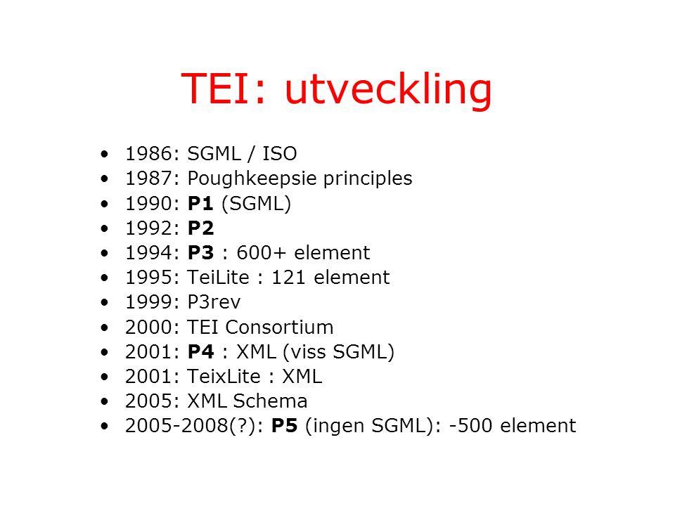 TEI: utveckling 1986: SGML / ISO 1987: Poughkeepsie principles 1990: P1 (SGML) 1992: P2 1994: P3 : 600+ element 1995: TeiLite : 121 element 1999: P3rev 2000: TEI Consortium 2001: P4 : XML (viss SGML) 2001: TeixLite : XML 2005: XML Schema 2005-2008(?): P5 (ingen SGML): -500 element
