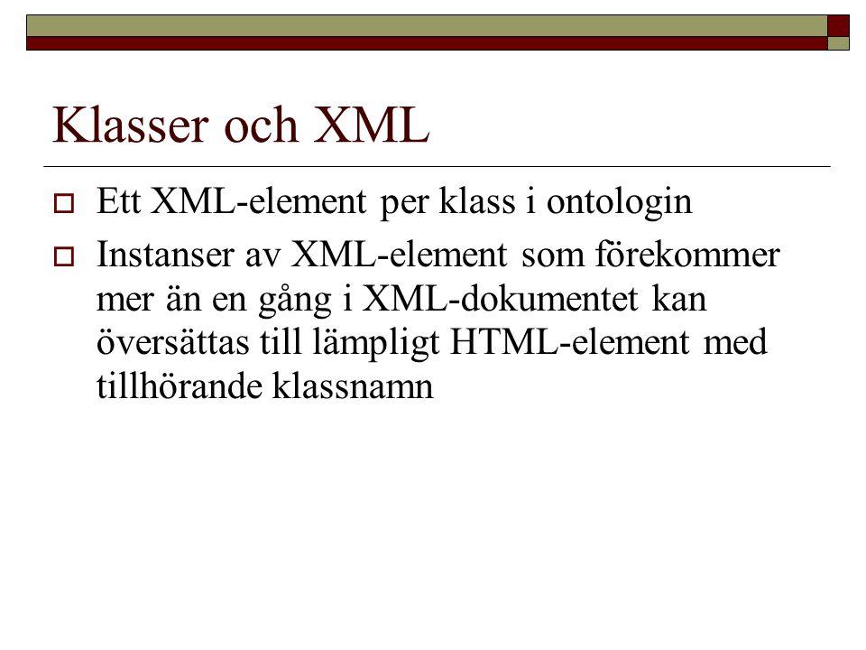 Klasser och XML  Ett XML-element per klass i ontologin  Instanser av XML-element som förekommer mer än en gång i XML-dokumentet kan översättas till lämpligt HTML-element med tillhörande klassnamn