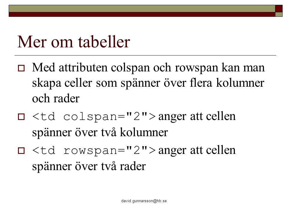 david.gunnarsson@hb.se Mer om tabeller  Med attributen colspan och rowspan kan man skapa celler som spänner över flera kolumner och rader  anger att cellen spänner över två kolumner  anger att cellen spänner över två rader