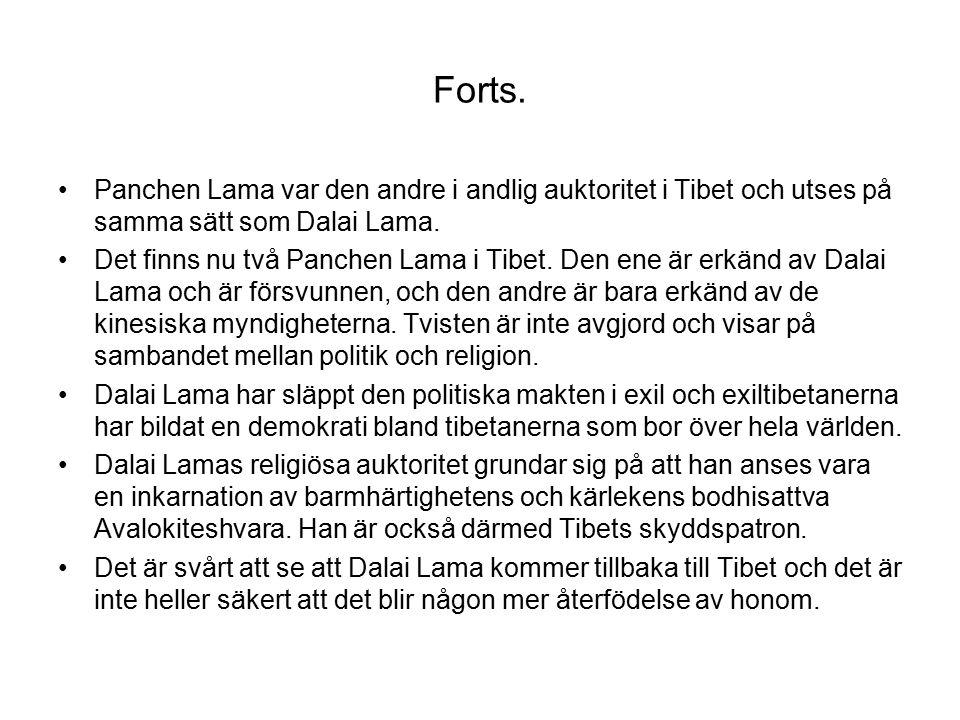 Forts. Panchen Lama var den andre i andlig auktoritet i Tibet och utses på samma sätt som Dalai Lama. Det finns nu två Panchen Lama i Tibet. Den ene ä