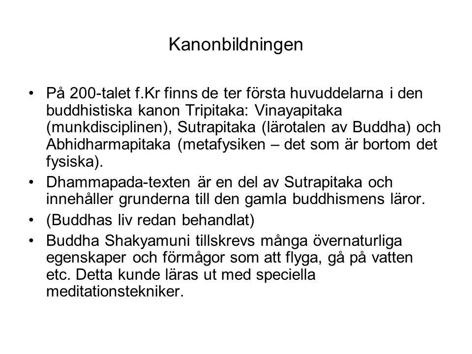Kanonbildningen På 200-talet f.Kr finns de ter första huvuddelarna i den buddhistiska kanon Tripitaka: Vinayapitaka (munkdisciplinen), Sutrapitaka (lä