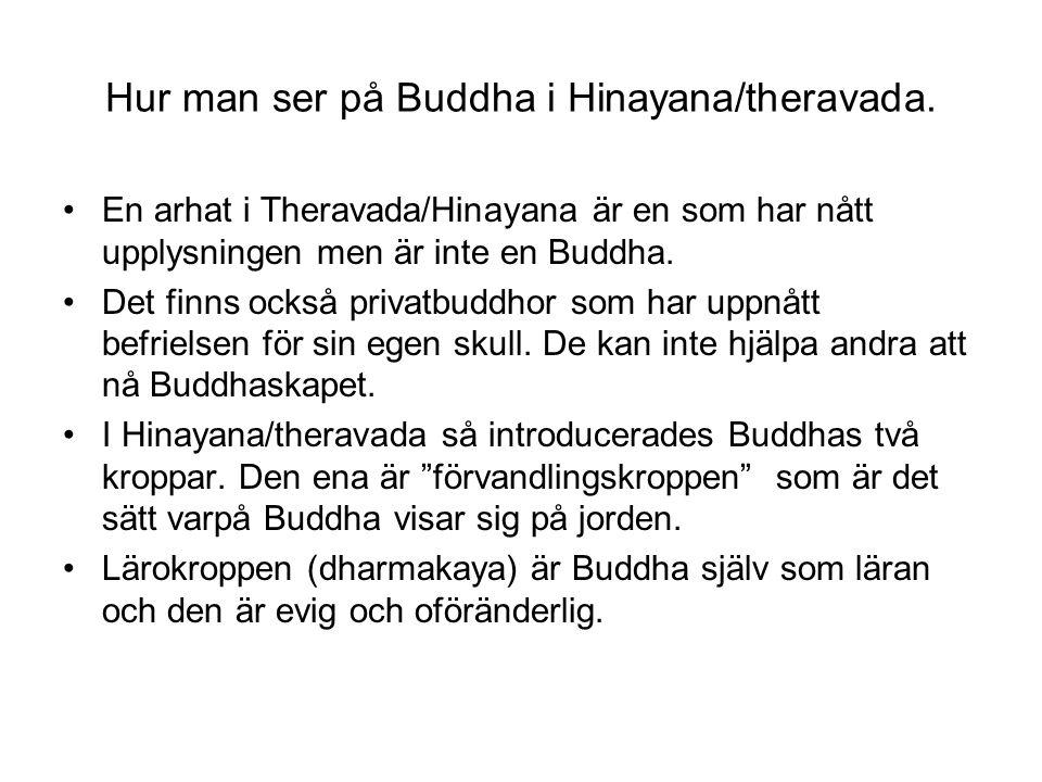 Hur man ser på Buddha i Hinayana/theravada. En arhat i Theravada/Hinayana är en som har nått upplysningen men är inte en Buddha. Det finns också priva
