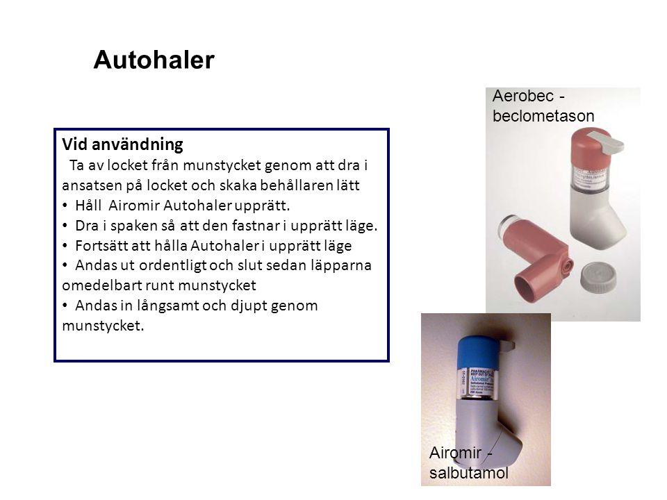 Vid användning Ta av locket från munstycket genom att dra i ansatsen på locket och skaka behållaren lätt Håll Airomir Autohaler upprätt. Dra i spaken