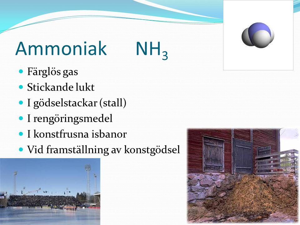 AmmoniakNH 3 Färglös gas Stickande lukt I gödselstackar (stall) I rengöringsmedel I konstfrusna isbanor Vid framställning av konstgödsel