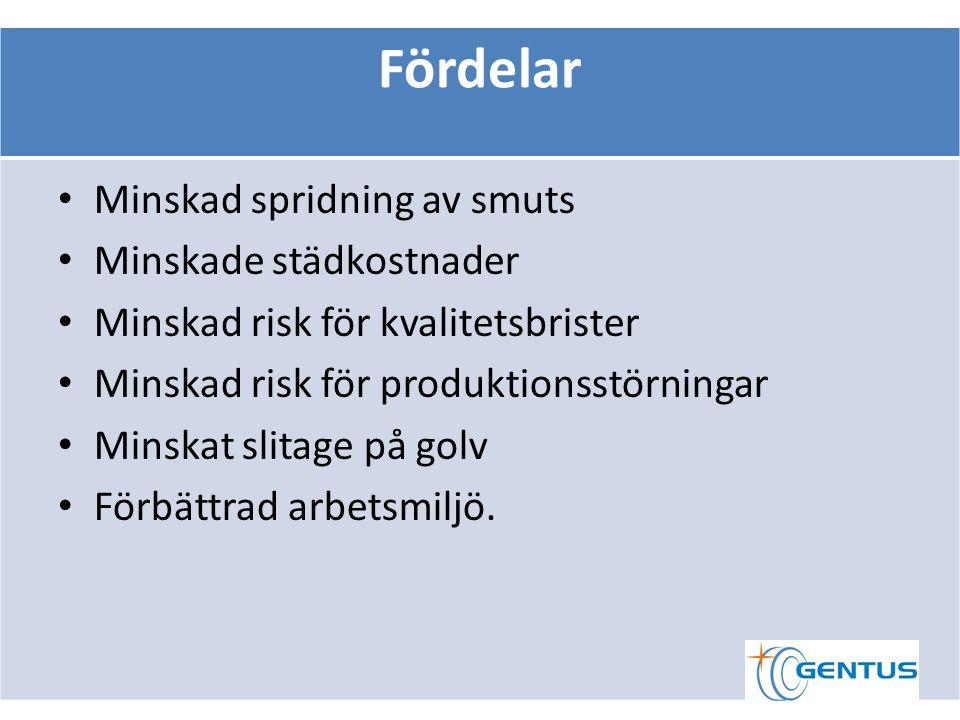 Fördelar Minskad spridning av smuts Minskade städkostnader Minskad risk för kvalitetsbrister Minskad risk för produktionsstörningar Minskat slitage på golv Förbättrad arbetsmiljö.