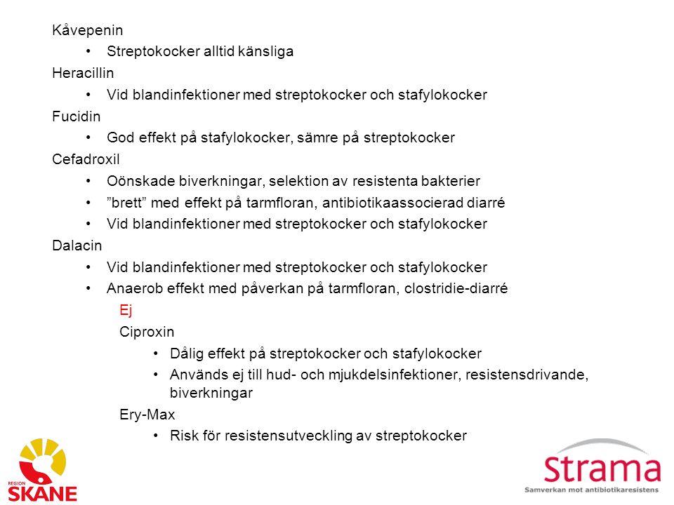 Kåvepenin Streptokocker alltid känsliga Heracillin Vid blandinfektioner med streptokocker och stafylokocker Fucidin God effekt på stafylokocker, sämre