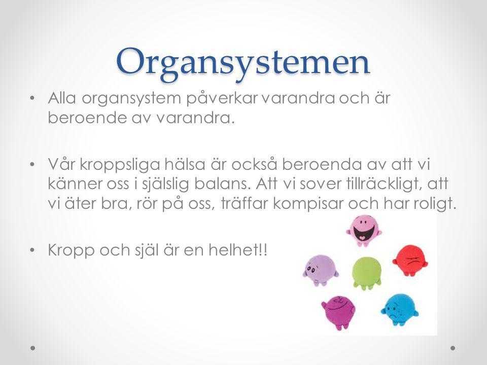 Organsystemen Alla organsystem påverkar varandra och är beroende av varandra. Vår kroppsliga hälsa är också beroenda av att vi känner oss i själslig b