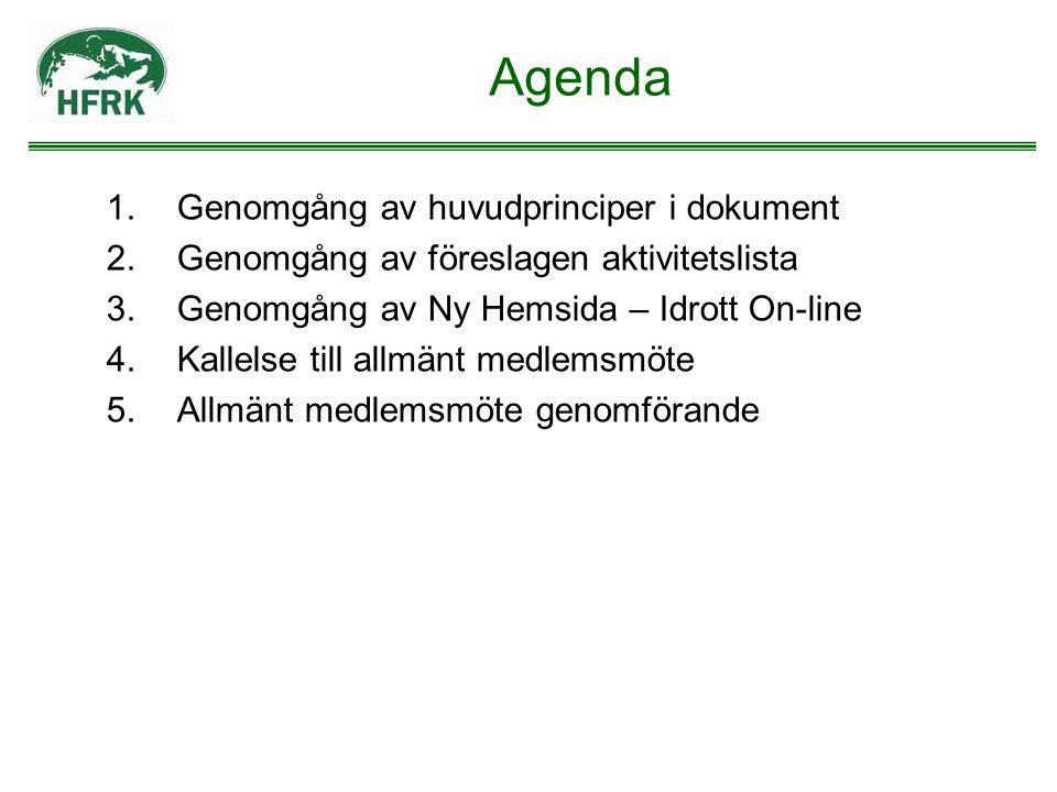 Agenda 1.Genomgång av huvudprinciper i dokument 2.Genomgång av föreslagen aktivitetslista 3.Genomgång av Ny Hemsida – Idrott On-line 4.Kallelse till a