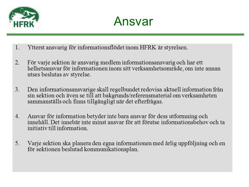 Ansvar 1.Ytterst ansvarig för informationsflödet inom HFRK är styrelsen. 2.För varje sektion är ansvarig medlem informationsansvarig och har ett helhe