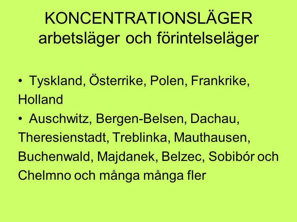 KONCENTRATIONSLÄGER arbetsläger och förintelseläger Tyskland, Österrike, Polen, Frankrike, Holland Auschwitz, Bergen-Belsen, Dachau, Theresienstadt, T