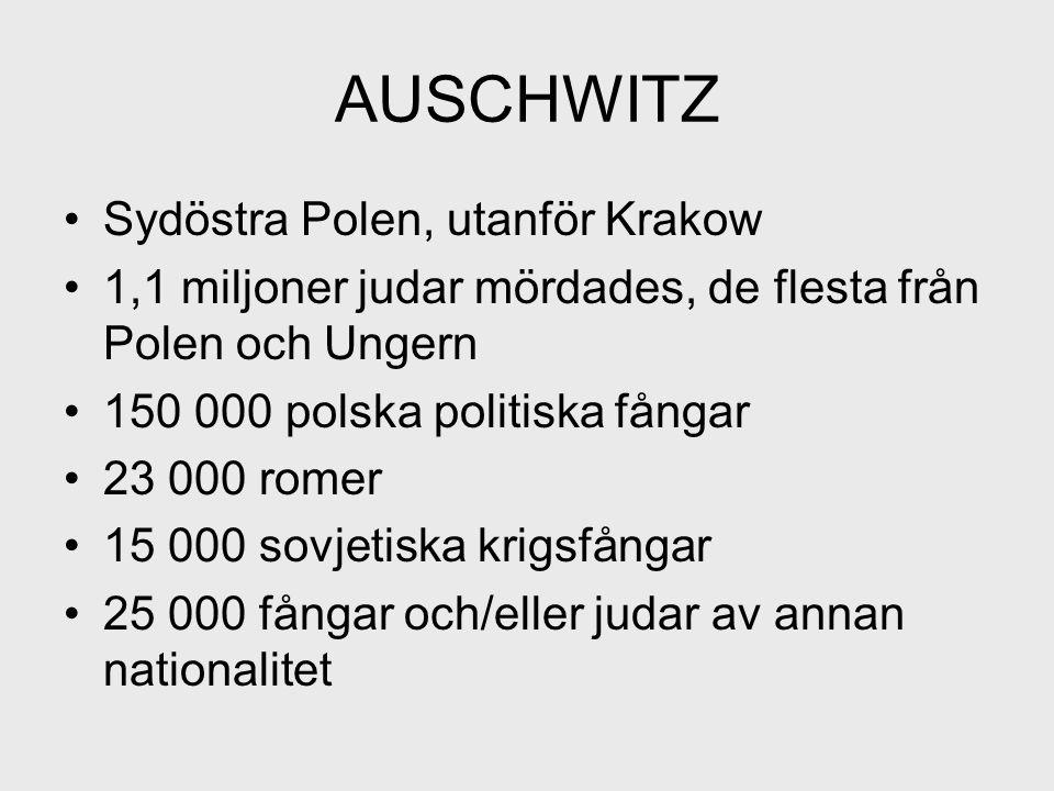AUSCHWITZ Sydöstra Polen, utanför Krakow 1,1 miljoner judar mördades, de flesta från Polen och Ungern 150 000 polska politiska fångar 23 000 romer 15