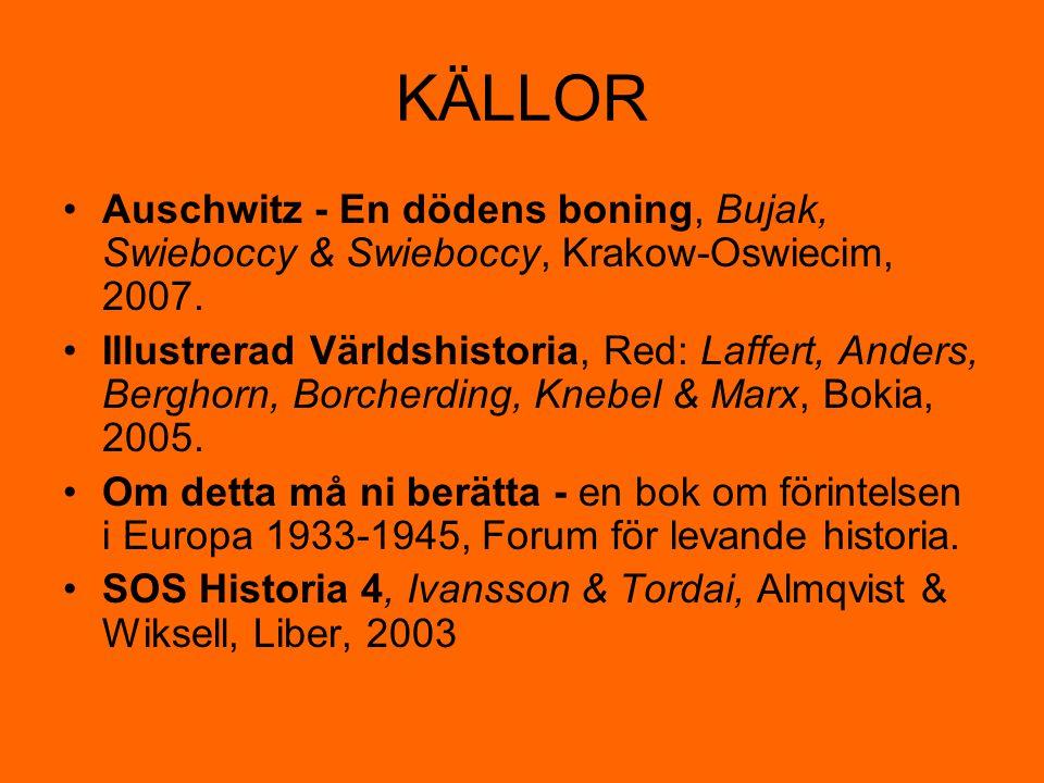 KÄLLOR Auschwitz - En dödens boning, Bujak, Swieboccy & Swieboccy, Krakow-Oswiecim, 2007. Illustrerad Världshistoria, Red: Laffert, Anders, Berghorn,