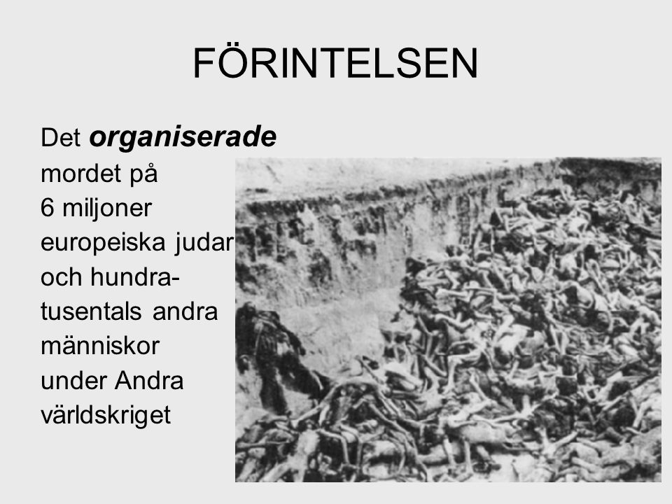 VIKTIGA ORD OCH BEGREPP HOLOCAUST – judeutrotningen under nazistregimen i Andra Världskriget ANTISEMITISM - judefientlighet POGROM – våldsam judeförföljelse NAZISM – tysk nationalsocialism som stod för antisemitism, rasism och Lebensraum PARTISAN – medlem av motståndsrörelse som gör väpnat motstånd GHETTO – stängda kvarter i städer dit judarna flyttades DEPORTERING – förflyttning under tvång