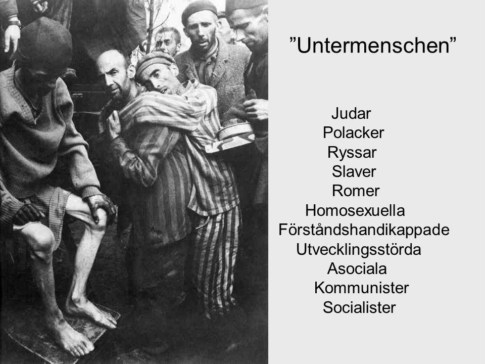 DÖDSOFFER för Tysklands Lebensraum 6 miljoner judar, varav 3 miljoner i läger 500 000 sinter och romer 10 000-tals homosexuella Ytterligare 6 miljoner ryssar, polacker, slaver, politiska fångar, partisaner, kommunister och socialister som inte räknas in i Förintelsens offer