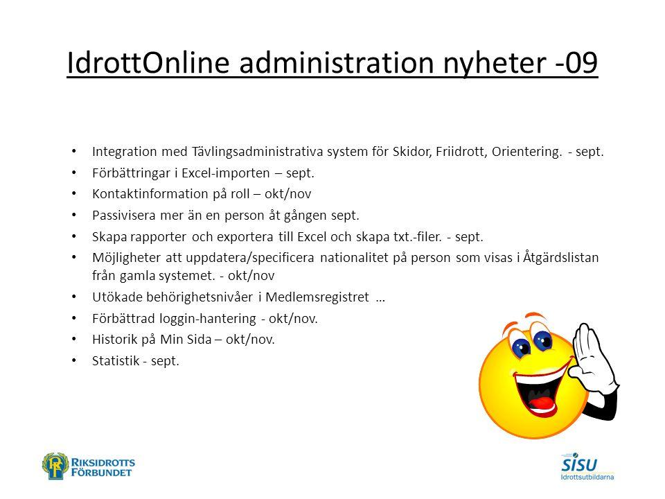 IdrottOnline administration nyheter -09 Integration med Tävlingsadministrativa system för Skidor, Friidrott, Orientering.