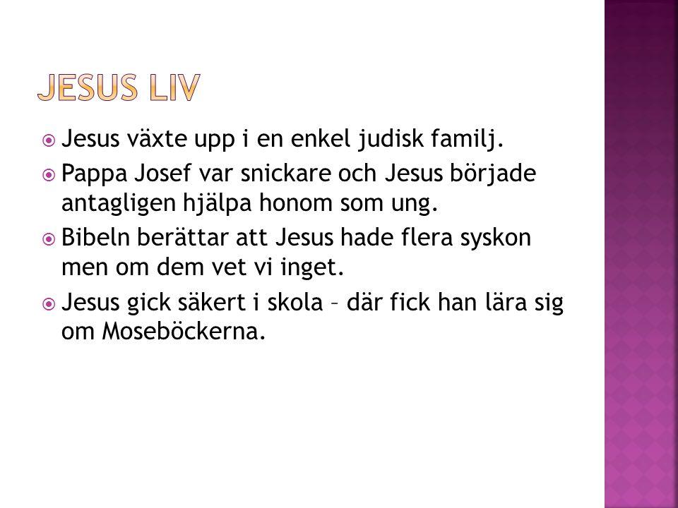  Jesus växte upp i en enkel judisk familj.