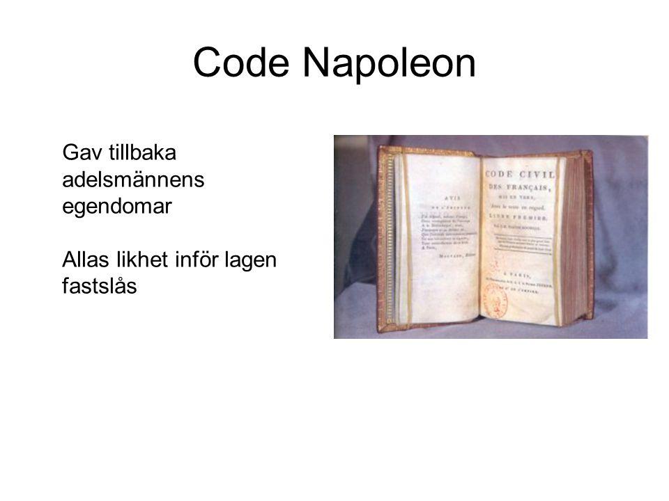 Code Napoleon Gav tillbaka adelsmännens egendomar Allas likhet inför lagen fastslås