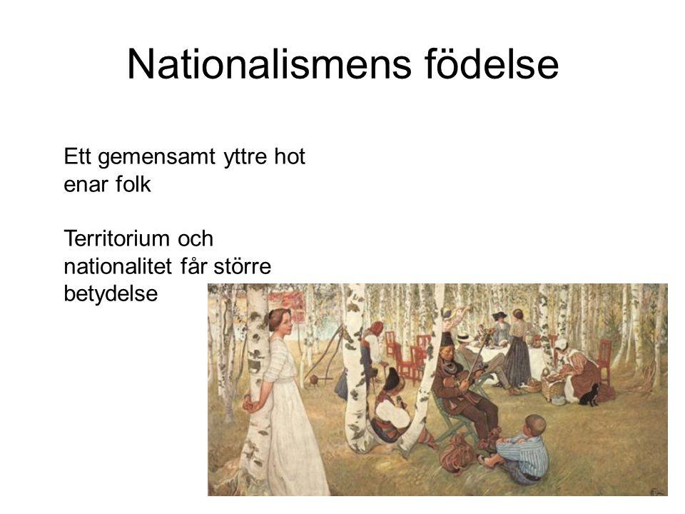 Nationalismens födelse Ett gemensamt yttre hot enar folk Territorium och nationalitet får större betydelse