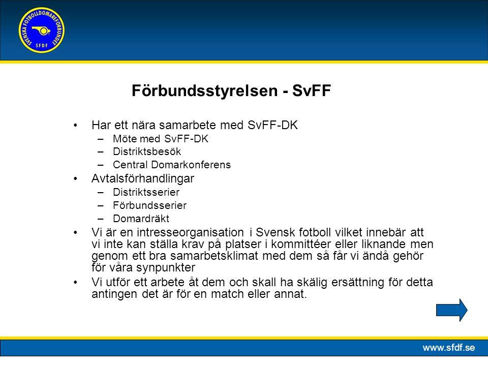 www.sfdf.se Har ett nära samarbete med SvFF-DK –Möte med SvFF-DK –Distriktsbesök –Central Domarkonferens Avtalsförhandlingar –Distriktsserier –Förbund