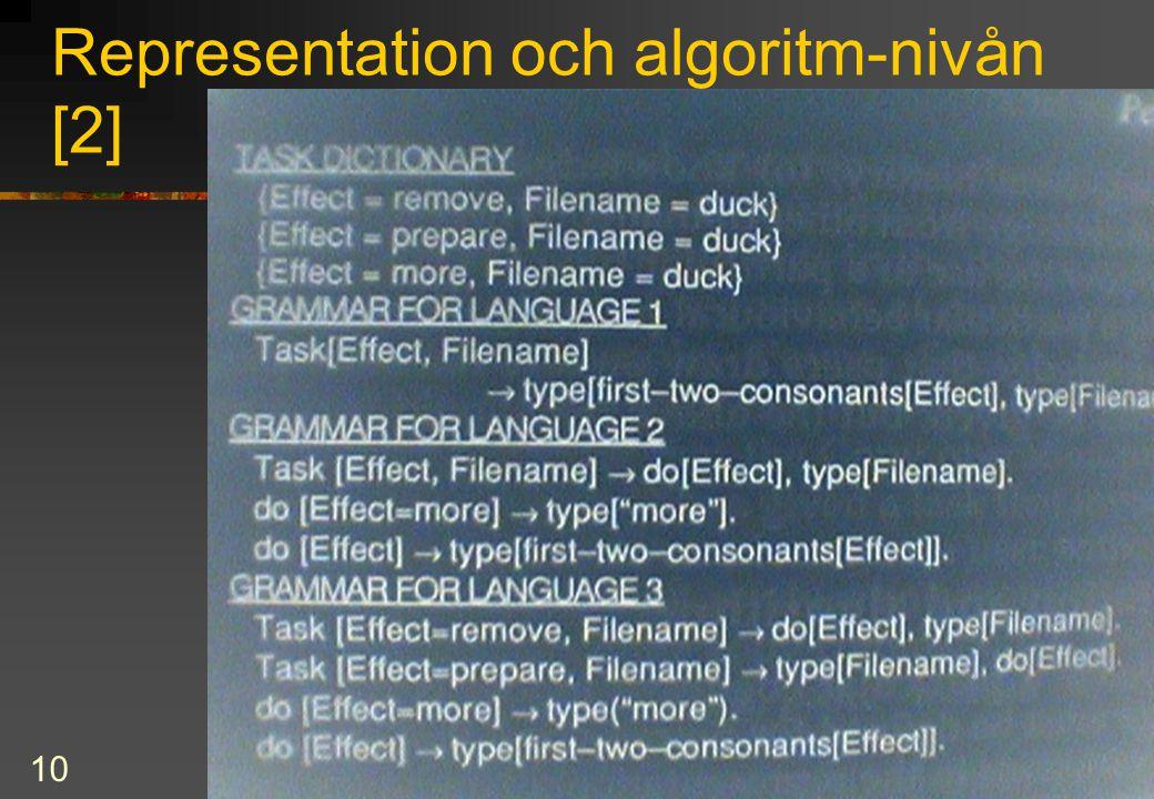 10 Representation och algoritm-nivån [2]