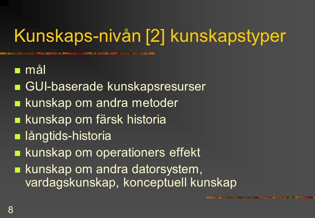 8 Kunskaps-nivån [2] kunskapstyper mål GUI-baserade kunskapsresurser kunskap om andra metoder kunskap om färsk historia långtids-historia kunskap om o