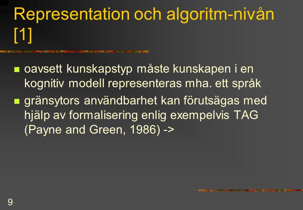 9 Representation och algoritm-nivån [1] oavsett kunskapstyp måste kunskapen i en kognitiv modell representeras mha. ett språk gränsytors användbarhet
