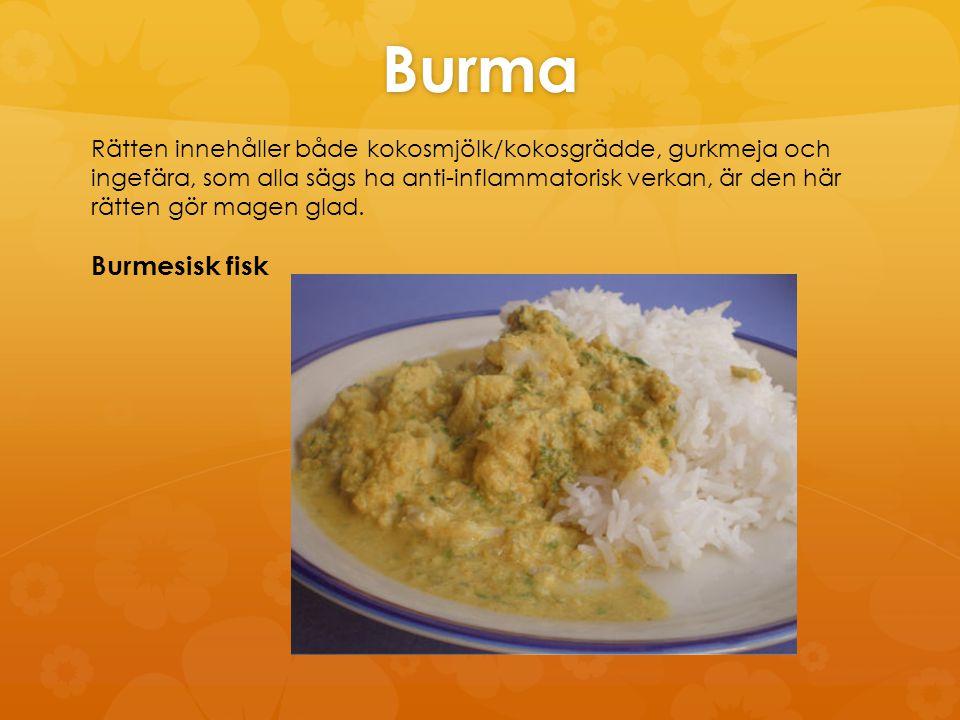 Burmesisk fisk (3 portioner) 400 g vit fiskfilé (t ex ett djupfryst fiskblock) 1 burk kokosmjölk (observera att det finns ofta konsistensgivare i kokosmjölk) 1-2 finhackad schalottenlök 1 pressad vitlöksklyfta 2 tsk finhackad färsk ingefära 1 tsk sesamolja 1 tsk salt ½ tsk gurkmeja ½ tsk paprikapulver ½ krm chilipulver 1 tsk rismjöl 2-3 msk färsk hackad koriander