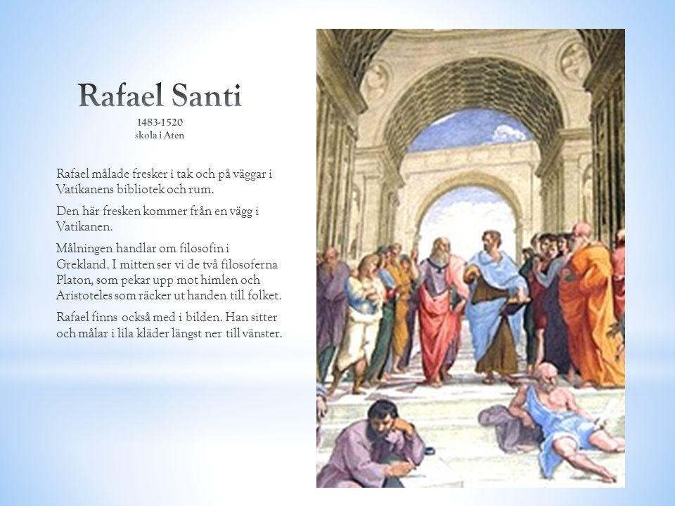 Rafael målade fresker i tak och på väggar i Vatikanens bibliotek och rum. Den här fresken kommer från en vägg i Vatikanen. Målningen handlar om filoso