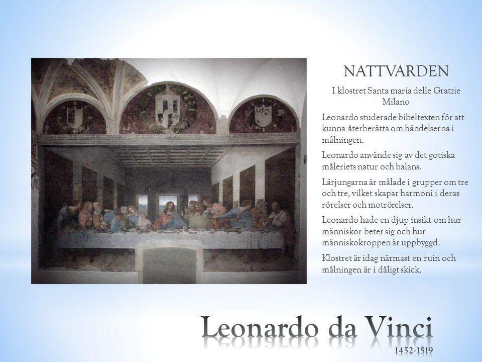 NATTVARDEN I klostret Santa maria delle Gratzie Milano Leonardo studerade bibeltexten för att kunna återberätta om händelserna i målningen. Leonardo a
