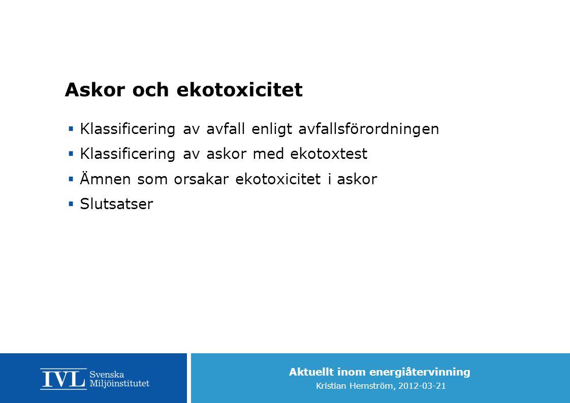 Aktuellt inom energiåtervinning Kristian Hemström, 2012-03-21 Askor och ekotoxicitet  Klassificering av avfall enligt avfallsförordningen  Klassific