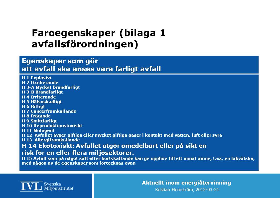 Aktuellt inom energiåtervinning Kristian Hemström, 2012-03-21 Faroegenskaper (bilaga 1 avfallsförordningen) Egenskaper som gör att avfall ska anses va