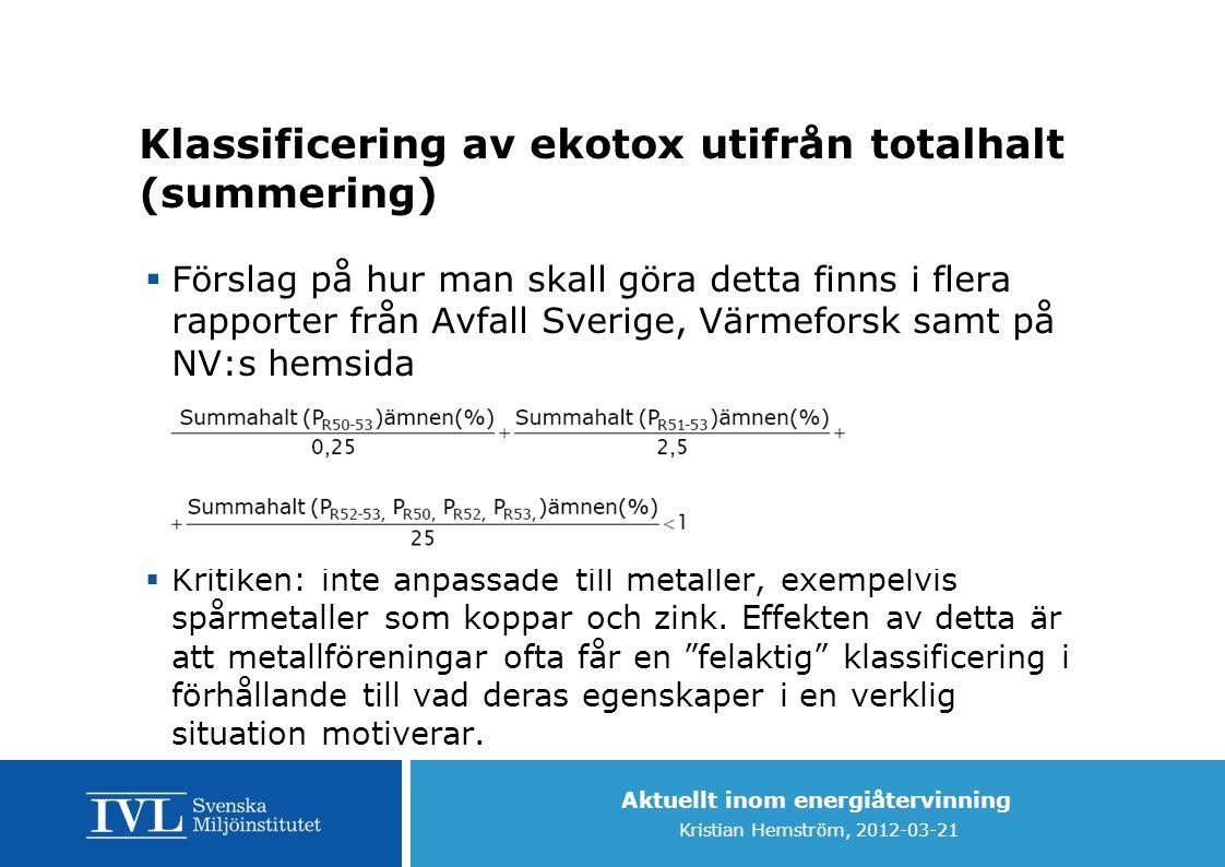 Aktuellt inom energiåtervinning Kristian Hemström, 2012-03-21 Klassificering av ekotox utifrån totalhalt (summering)  Förslag på hur man skall göra d